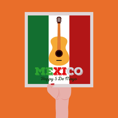commemorative: Isolated sticker hold by a hand with text and a guitar for cinco de mayo celebrations