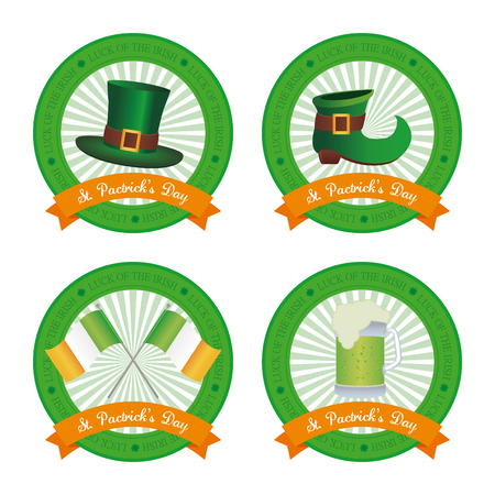 the irish image collection: Set of banners with ribbons and different traditional elements for patricks day
