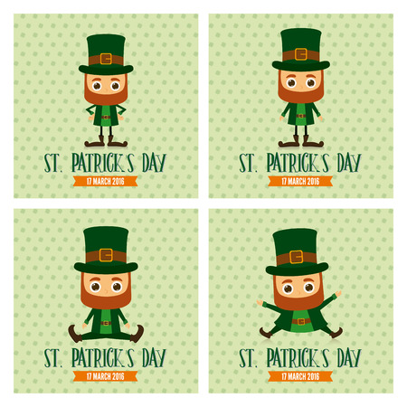 the irish image collection: Set of traditional elves on textured backgrounds for patricks day