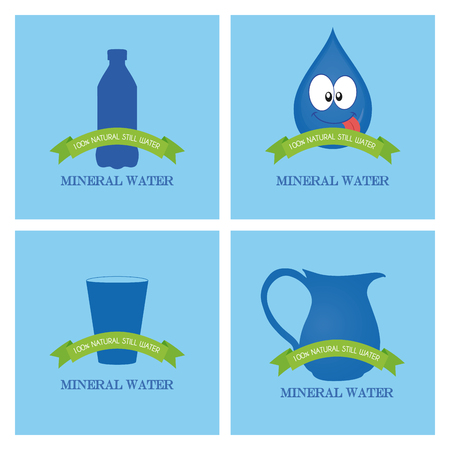 soda splash: Set of mineral water icons with text on blue backgrounds Illustration
