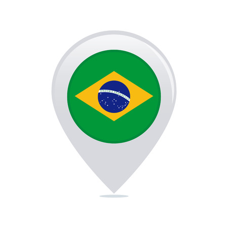 brazilian: Isolated pin with a brazilian flag on a white background