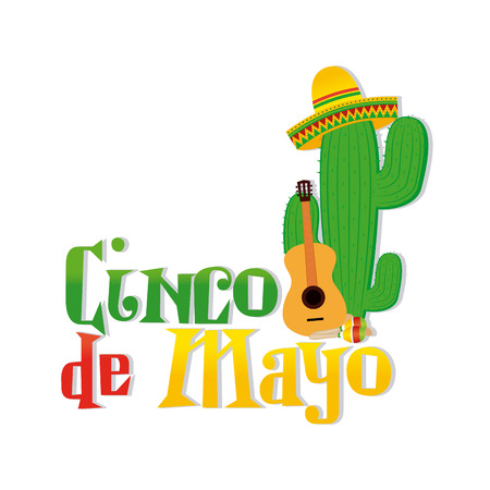 de: White background with text and traditional elements for cinco de mayo celebrations