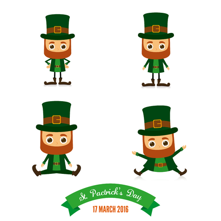 the irish image collection: Set of traditional elves on a white background for patricks day