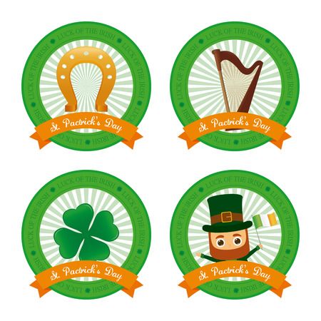 Set of banners with ribbons and different traditional elements for patricks day
