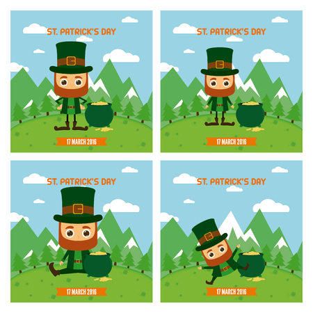 the irish image collection: Set of landscapes with traditional elves and gold for patricks day Illustration