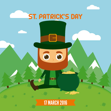 irish landscape: Colored landscape with an irish elf and gold for patricks day
