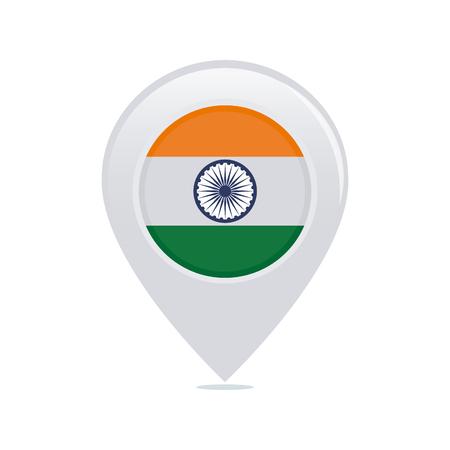 bandera de la india: pin aislado con una bandera india sobre un fondo blanco Vectores