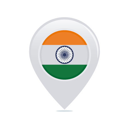 Isolated pin with a indian flag on a white background