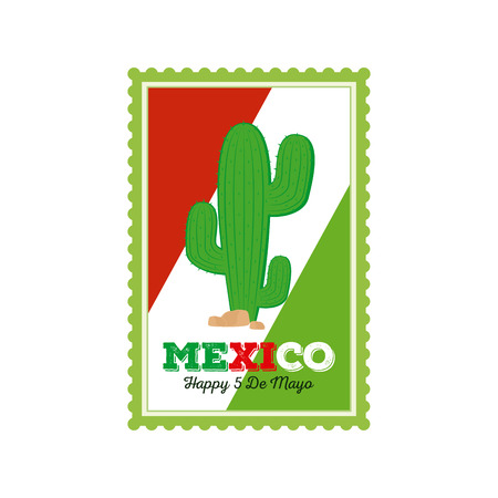 Isolated sticker with text and a cactus for cinco de mayo celebrations