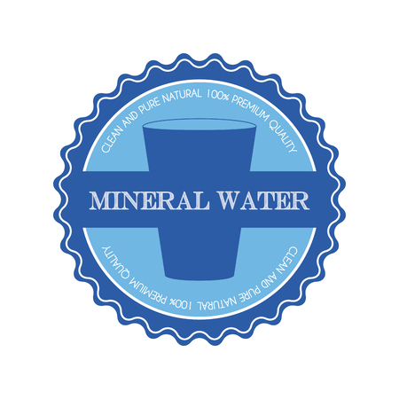 soda splash: Isolated blue banner with a mineral water icon and text on a white background