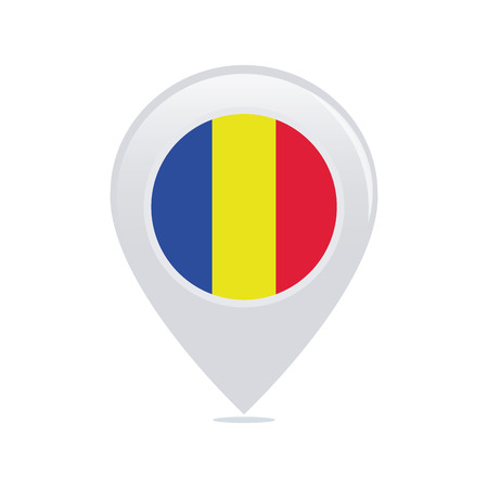 romanian: Isolated pin with a romanian flag on a white background