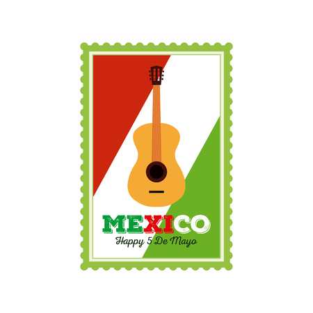 commemorative: Isolated sticker with text and a guitar for cinco de mayo celebrations