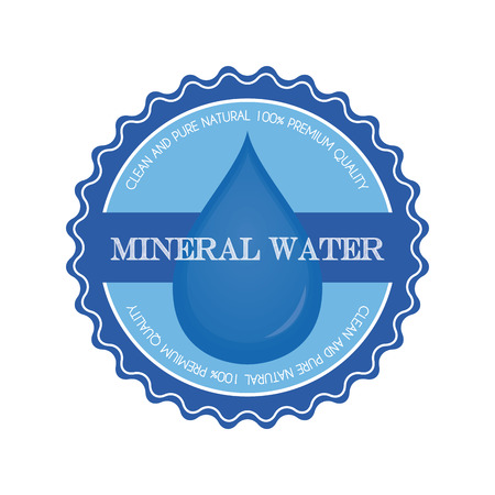mineral water: Isolated blue banner with a mineral water icon and text on a white background