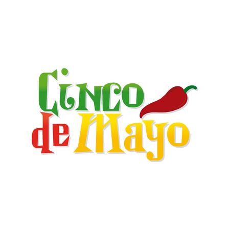 commemorative: White background with text and pepper for cinco de mayo celebrations Illustration