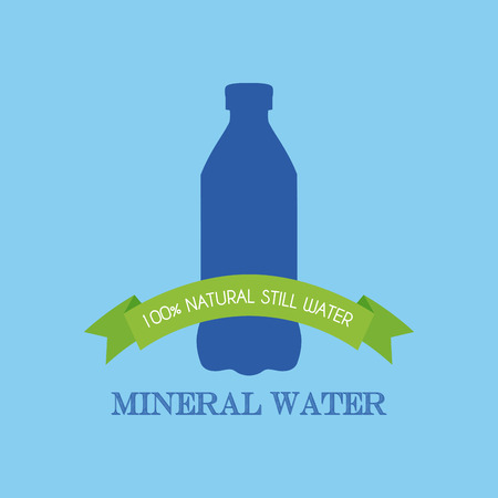 soda splash: Isolated mineral water icon with a ribbon with text on a blue background