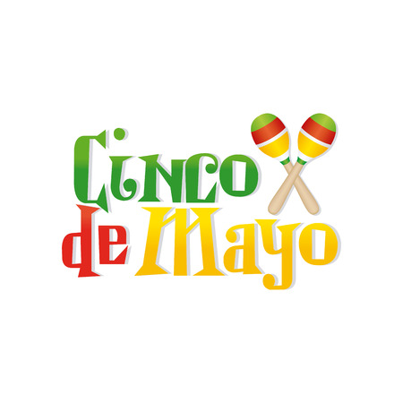 White background with text and maracas for cinco de mayo celebrations