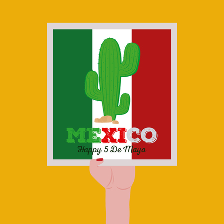 commemorate: Isolated sticker hold by a hand with text and a cactus for cinco de mayo celebrations