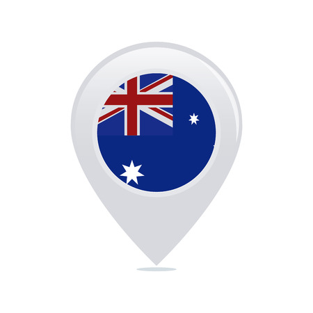 Isolated pin with an australian flag on a white background