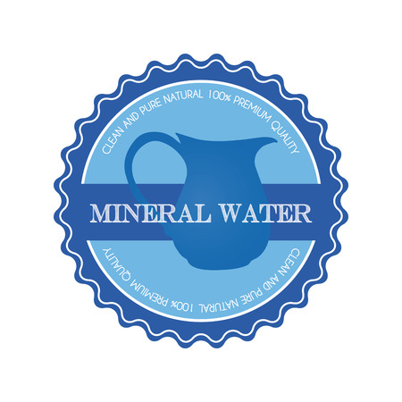 mineral: Isolated blue banner with a mineral water icon and text on a white background