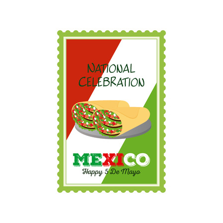 commemorative: Isolated sticker with text and a pair of tacos for cinco de mayo celebrations Illustration