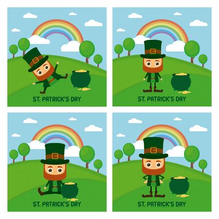irish landscape: Set of landscapes with traditional elves and gold for patricks day Illustration