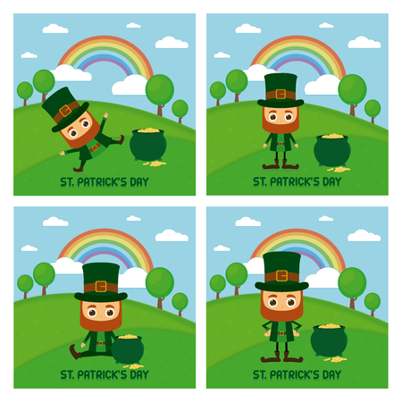 Set of landscapes with traditional elves and gold for patricks day Illustration