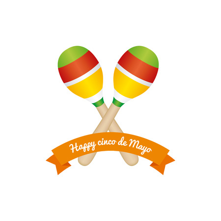 commemorative: White background with a ribbon and maracas for cinco de mayo celebrations