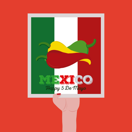 commemorate: Isolated sticker hold by a hand with text and peppers for cinco de mayo celebrations Illustration