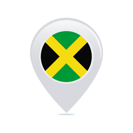 jamaican flag: Isolated pin with a jamaican flag on a white background