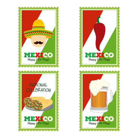 Set of stickers with traditional elements and text for cinco de mayo celebrations