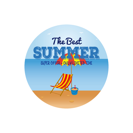 group of objects: Isolated sticker with text and a group of summer objects on a beach landscape