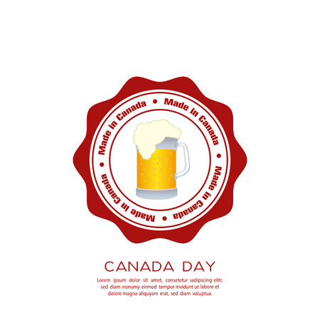 commemoration day: Isolated banner with text and a mug with bear for canada day celebrations