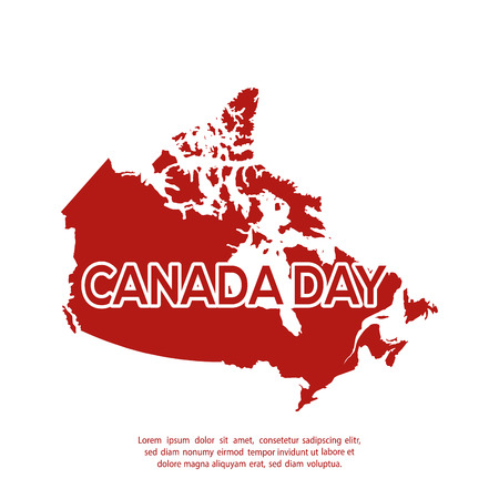 canadian flag: Isolated canadian map on a white background with text
