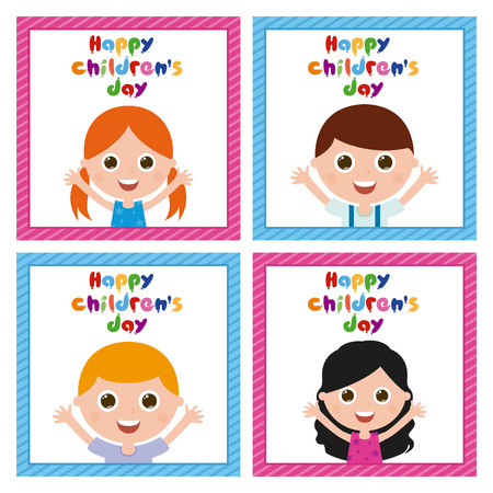 textured backgrounds: Set of cute children on similar textured backgrounds Illustration