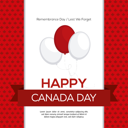 commemoration day: Colored background with some balloons and a ribbon with text for canada day