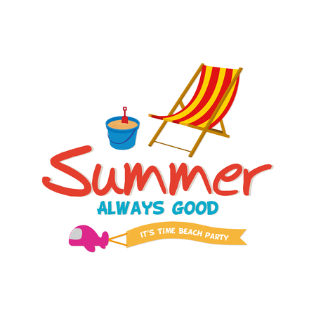 group of objects: Group of summer objects on a white background with text