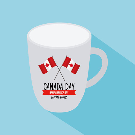 Isolated mug with text and a pair of canadian flags on a blue background Illustration