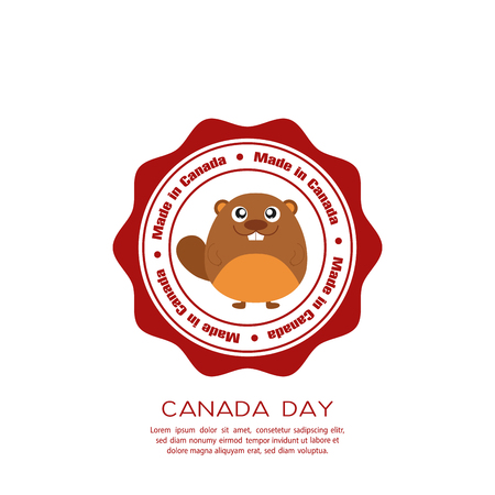 commemoration: Isolated banner with text and a beaver for canada day celebrations