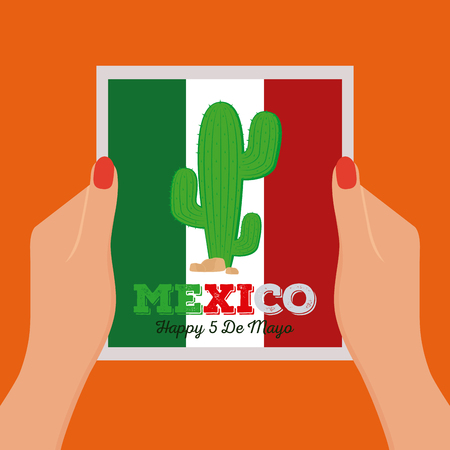 commemorative: Pair of hands holding a message with text and a cactus Illustration