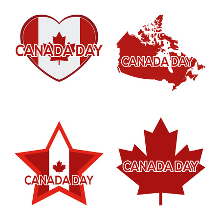 commemoration day: Set of different icons and a map for canada day celebrations