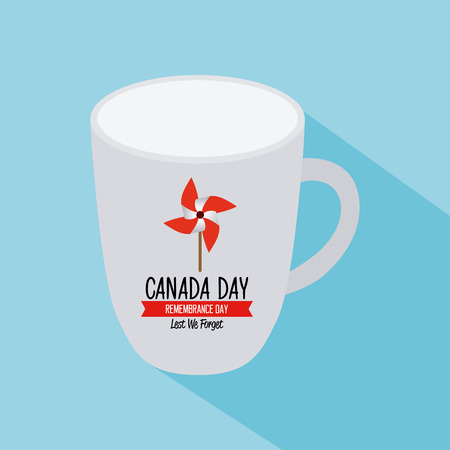 commemoration day: Isolated mug with text and a wind toy for canada day celebrations Illustration