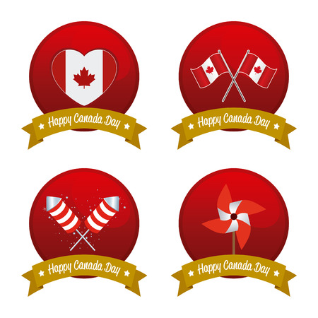 commemoration day: Set of banners with ribbons with text and different icons for canada day celebrations Illustration
