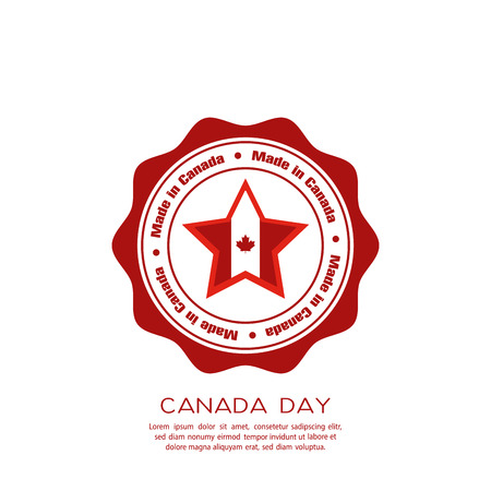 commemoration day: Isolated banner with text and a star with the canadian flag