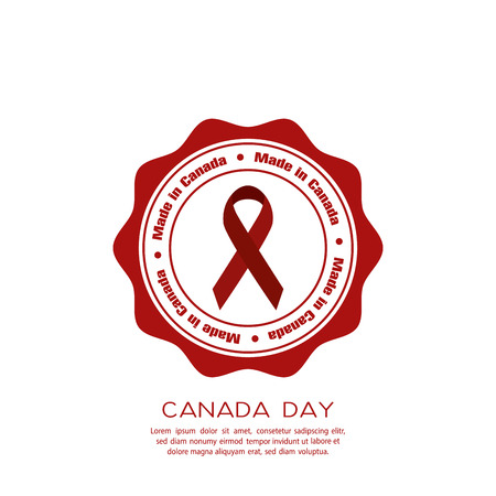 banner of peace: Isolated banner with text and a peace symbol for canada day celebrations Illustration