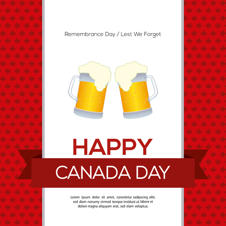 commemoration day: Colored background with a ribbon with text and a pair of beers Illustration