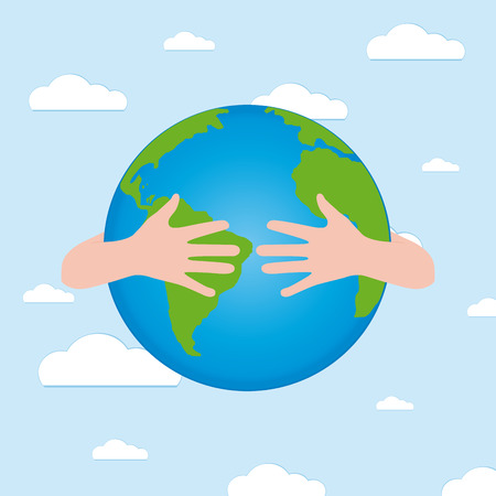 april clipart: Pair of hands holding our planet for earth day