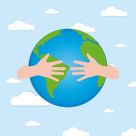 Un par de manos que sostienen nuestro planeta para Día de la Tierra