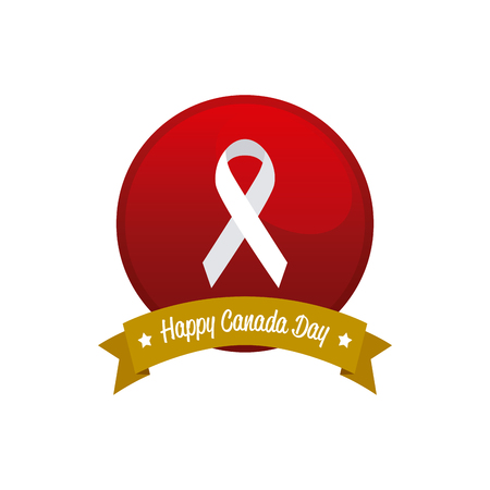 banner of peace: Isolated banner with a ribbon with text and a peace symbol for canada day celebrations Illustration