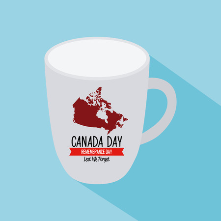 commemoration day: Isolated mug with the canadian map and text on a blue background