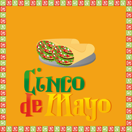 commemorative: Yellow background with text and a pair of tacos Illustration